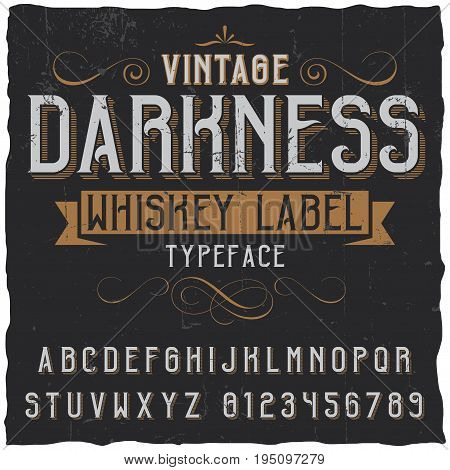 Vintage darkness whiskey poster with decoration and ribbon in vintage font vector illustration