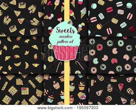 9 vector pattern set with doodle sweets - donuts, macaroons, waffles, ice creams, croissants.