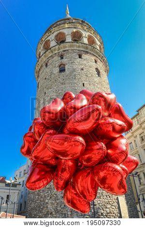 Historical Galata Tower in Istanbul - Turkey