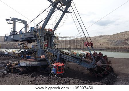Mining machines in opencast mine  mine the Town Most in full work