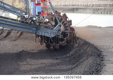 Excavator mining machine in the opencast mine  city of Most