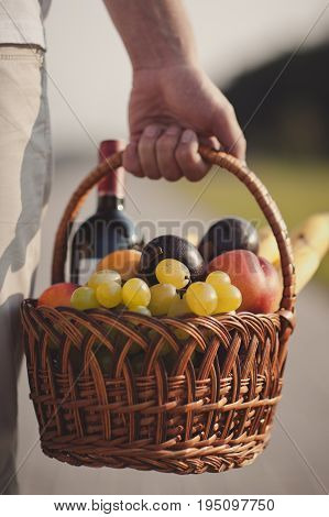 The Man Basket Filled Healthy Food And Wine