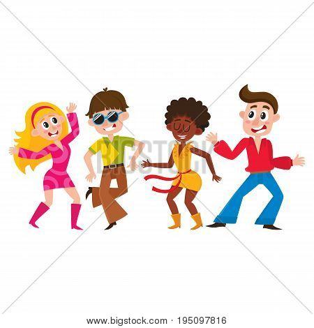 Set of retro disco dancers, black and Caucasian boys and girls, men and women, cartoon vector illustration isolated on white background. Men and women in colorful clothes dancing at retro disco party