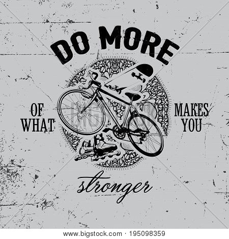 Bicycle Object Poster with word do more stronger and cycle in the centre vector illustration
