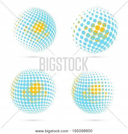 Kazakhstan Halftone Flag Set Patriotic Vector Design. 3D Halftone Sphere In Kazakhstan National Flag