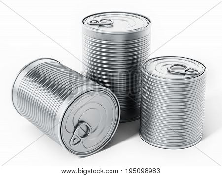Tin cans isolated on white background. 3D illustration.