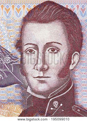 Manuel Rodríguez Erdoíza portrait from Chilean money