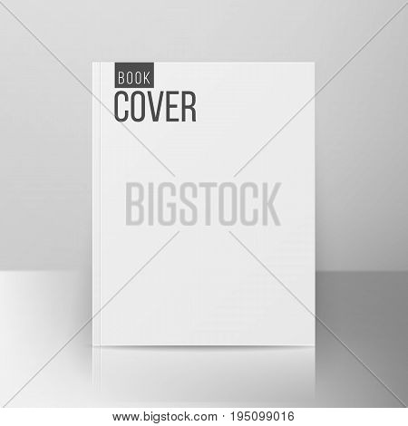 Blank Book Cover Isolated Vector. Illustration Isolated On Gray Background. Empty White Mock Up Template For Design