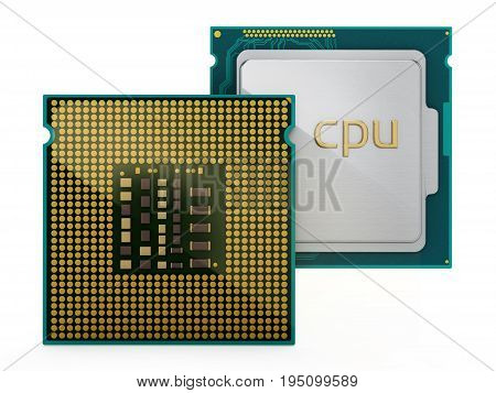 Two CPUs isolated on white background. 3D illustration.