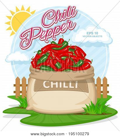 Vector illustration of eco products. Ripe Chili Pepper in burlap sack. Full sacks with fresh vegetables. Bag with harvest on the summer garden. Harvesting and food concept