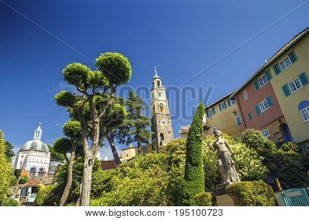Belltower and Panthenon of Portmeirion Village in North Wales UK
