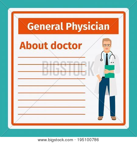 Medical professional notes about general physician vector template