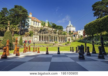 Giant Outdoor Chessboard of Fabolous Portmeirion Village in North Wales UK
