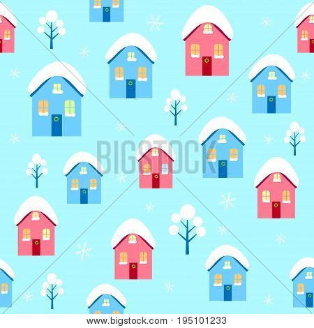 House winter seamless pattern vector tree,  , decoration, snow