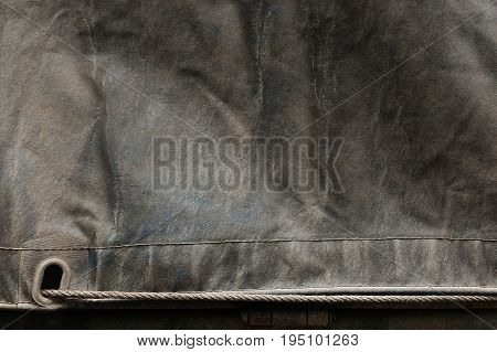 dirty old canvas covered truck on truck for transportation background
