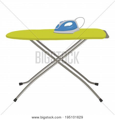Blue iron and green ironing board isolated on a white background. Vector flat illustration.