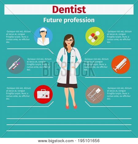 Future profession dentist infographic for students, vector illustration
