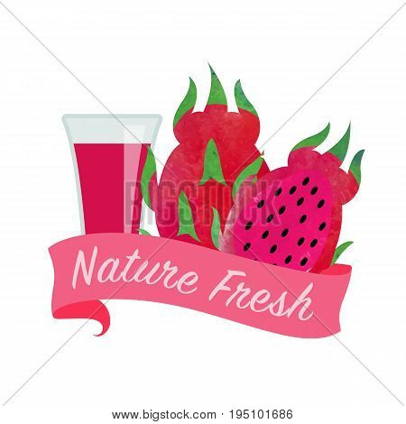 Colorful Watercolor Texture Vector Nature Organic Fresh Fruit Juice Banner Red Dragon Fruit Pitaya