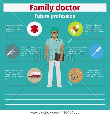 Future profession family doctor infographic for students, vector illustration