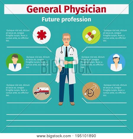 Future profession general physician infographic for students, vector illustration