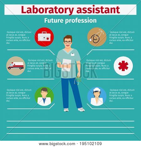 Future profession laboratory assistant infographic for students, vector illustration