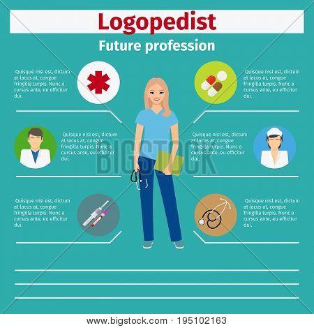Future profession logopedist infographic for students, vector illustration