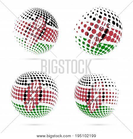 Kenya Halftone Flag Set Patriotic Vector Design. 3D Halftone Sphere In Kenya National Flag Colors Is