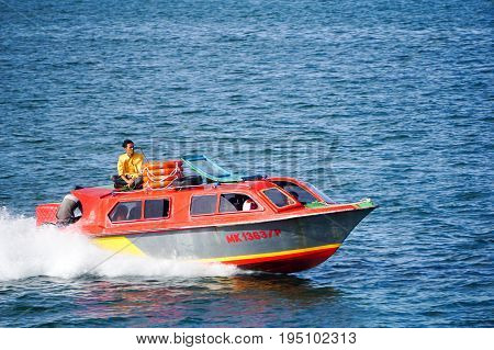 Labuan,Malaysia-June 26,2017:Water taxi service from Menumbok,Sabah to Labuan island at Labuan terminal.Water taxi is popular by local people as well as by tourists in Labuan island,Malaysia.