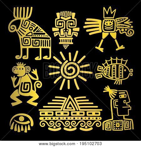 Maya style gold linear totem icons, vector illustration