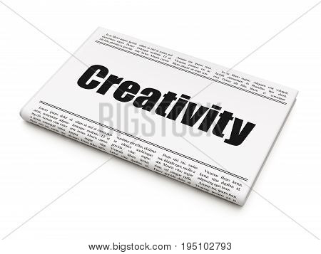 Advertising concept: newspaper headline Creativity on White background, 3D rendering