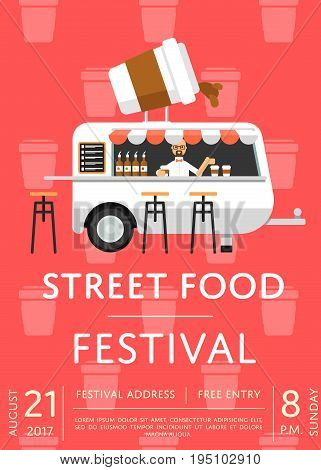 Food truck festival invitation in flat style. Culinary city event brochure template, takeaway street fast food. Outdoor restaurant or cafe menu flyer, urban food fest announcement vector illustration.