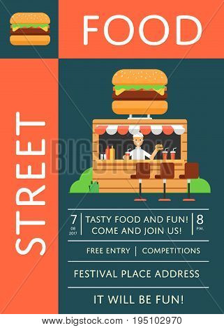 Street fast food festival invitation with outdoor burger cafe. Culinary city event brochure template, takeaway food service. Restaurant menu flyer, urban food fest announcement vector illustration