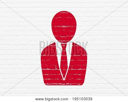 Advertising concept: Painted red Business Man icon on White Brick wall background