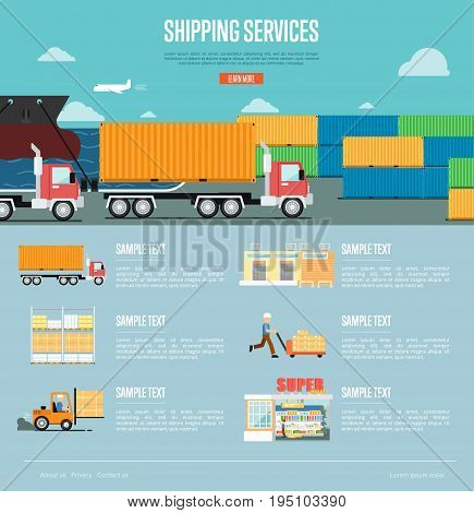 Shipping services infographics in flat style. Maritime and air freight shiping, warehousing and storage logistics, retail distribution and goods delivery. Worldwide business vector illustration.