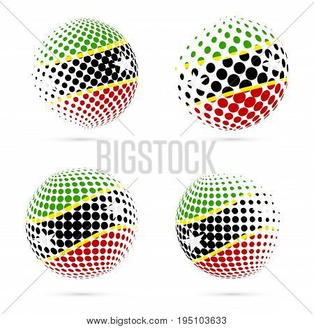 St. Kitts And Nevis Halftone Flag Set Patriotic Vector Design. 3D Halftone Sphere In St. Kitts And N