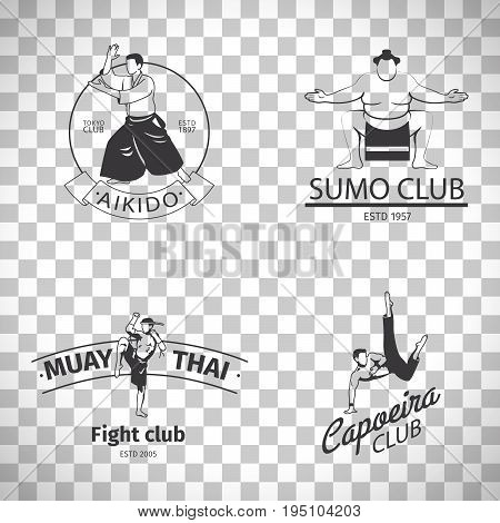 Fight club logo or MMA emblem set. Capoeira and sumo, aikido and thai boxing logos isolated on transparent background