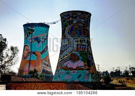 Former powerplant cooling tower now is tower for BASE jumping - 25-08-2013 johannesburg. South Africa
