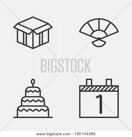 Year Icons Set. Collection Of Open Cardboard, Dessert, Agenda And Other Elements. Also Includes Symbols Such As Agenda, Month, Hand.