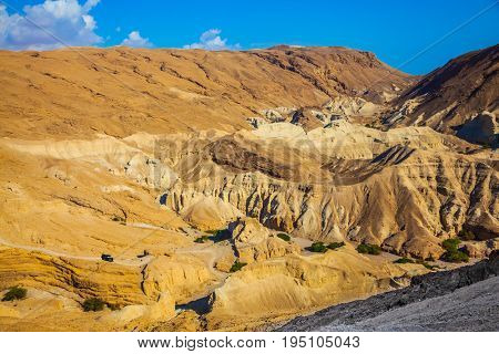 Bright hot summer day. Dry ancient mountains in the vicinity of the Dead Sea. At the bottom of the canyon are several green trees. The concept of extreme tourism