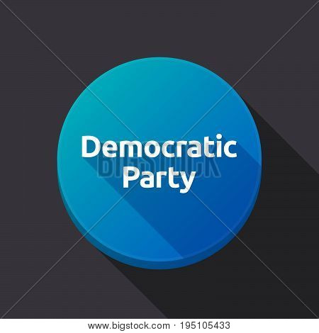 Long Shadow Button With  The Text Democratic  Party