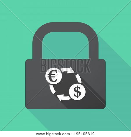 Long Shadow Lock With  An Euro Dollar Exchange Sign