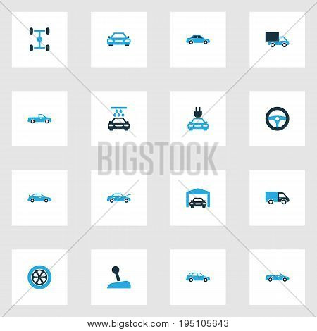 Automobile Colorful Icons Set. Collection Of Auto Hood, Sports Automobile, Gear Lever And Other Elements. Also Includes Symbols Such As Gear, Car, Garage.