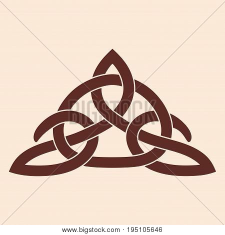 Celtic national ornament interlaced tape. Brown pattern on a beige background.