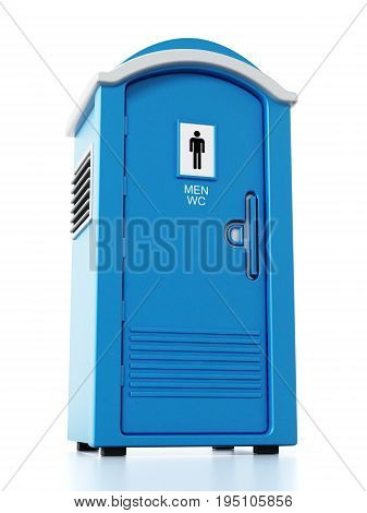 Portable blue men WC isolated on white background. 3D illustration