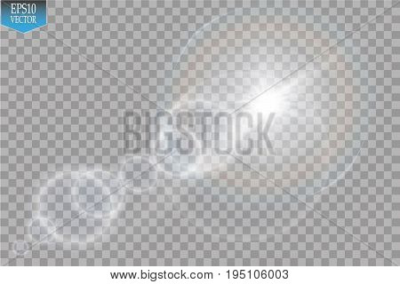 Vector transparent sunlight special lens flare light effect. Sun flash with rays and spotlight on transparent backgraund
