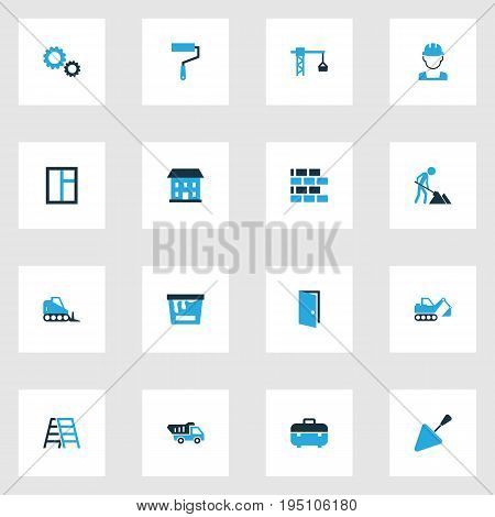 Architecture Colorful Icons Set. Collection Of Paint Roller, Glass, Dozer And Other Elements. Also Includes Symbols Such As Shovel, House, Instruments.