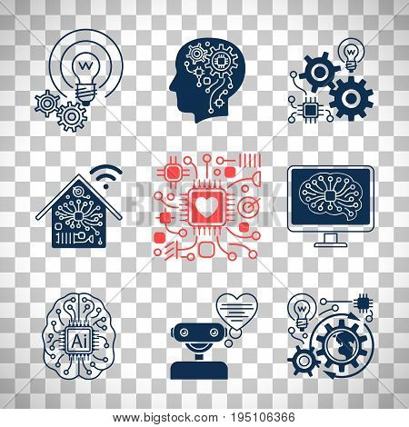 New technologies icons, artificial Intelligence signs and smart innovation symbols set isolated on transparent background