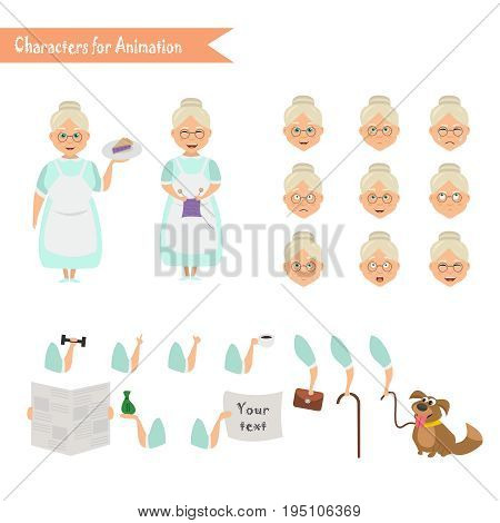 Grandmother housewife character for scenes. Parts of body template for animation. Funny Grandmother housewife cartoon. Emoji face icons