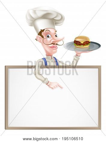 An illustration of a cartoon chef holding a tray with a burger on it  and pointing at a signboard