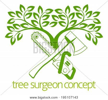 A crossed axe and chainsaw and tree Tree Surgeon or gardener concept design